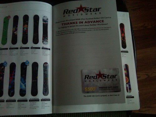 Red Star $500 Gift Card in 2011 Transworld Gear Guide