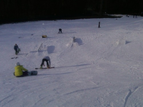 Rail, box and small kicker at Hawk Island Snow Park