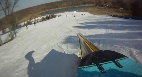 Board's eye view of the Timberline terrain park, closing day 2012