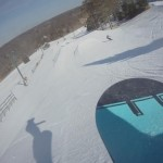 ankle mounted view of the jump line at Pine Knob