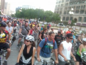 An over-the-shoulder view of the sea of people following us through downtown Detroit