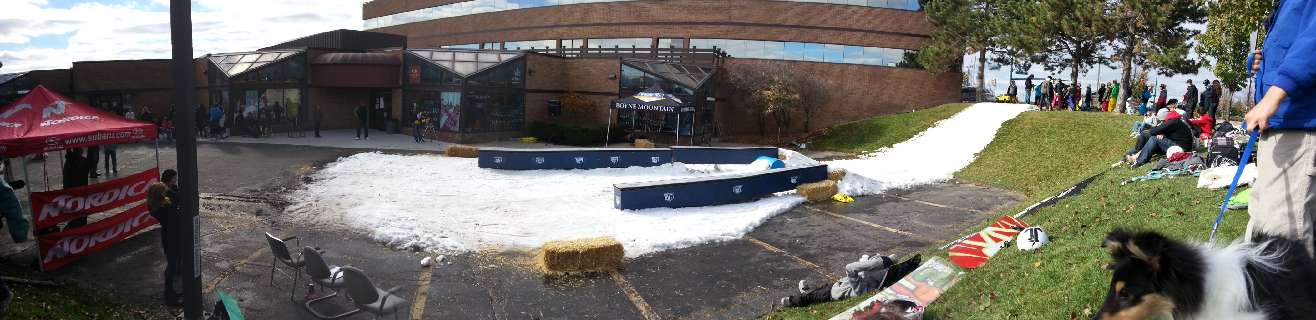 Panoramic view of the Boyne County Sports box rail jam, November 3, 2012