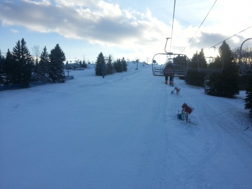 View from the chair on opening day at Mt. Holly, November 28, 2012