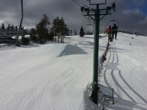 View of the jump line at Pine Knob from the chairlift