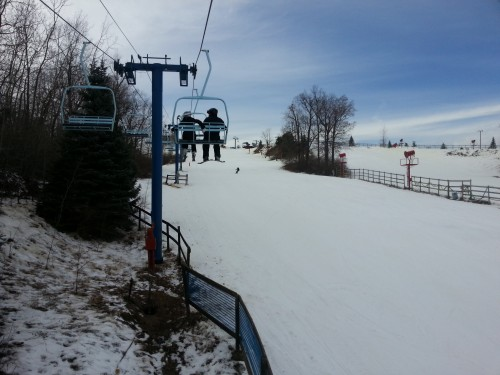View from the chairlift over Mozart at Mt. Holly, 1/13/2013