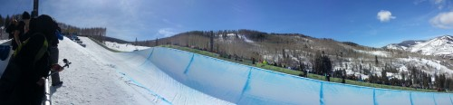 Panoramic view of the halfpipe at the 2013 Burton US Open in Vail, CO