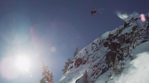 Air Jordan double cliff drop at Whistler, March 3, 2013