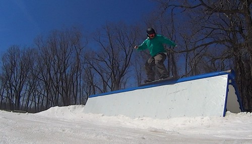 Dave on the A-Frame rail at Hawk Island Snow Park, April 21, 2013