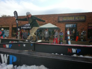 Local shred Matt Ruhle at the OAC rail jam
