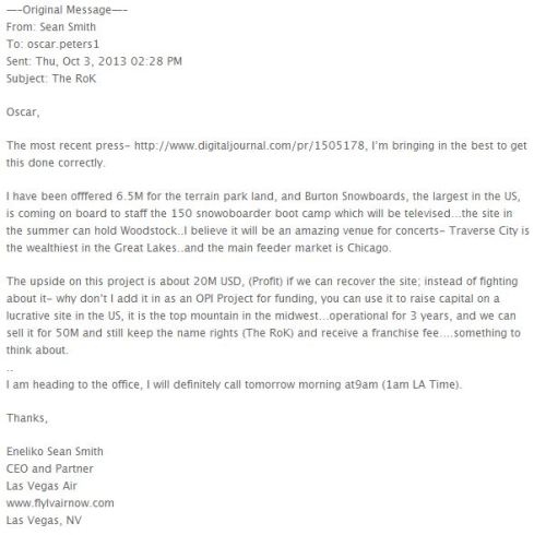 Email allegedly sent from Liko Smith to Oscar Peters, dated October 3, 2013