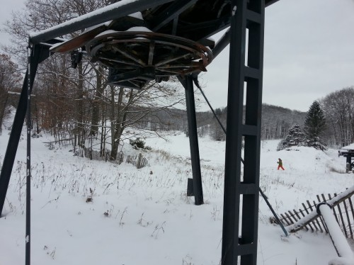 Abandoned chairlift base at Caberfae Peaks western boundary