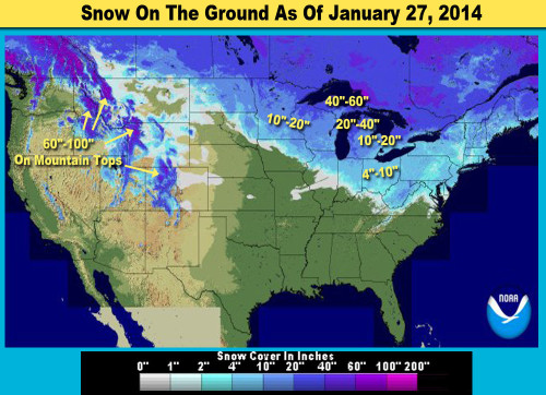 Where Is The Most Snow Right Now Agnarchycom - Map of us snow cover