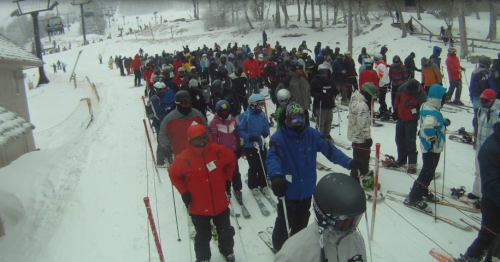 "This was the lift line for the ""high speed"" quad at Beech Mountain, around 1130am"