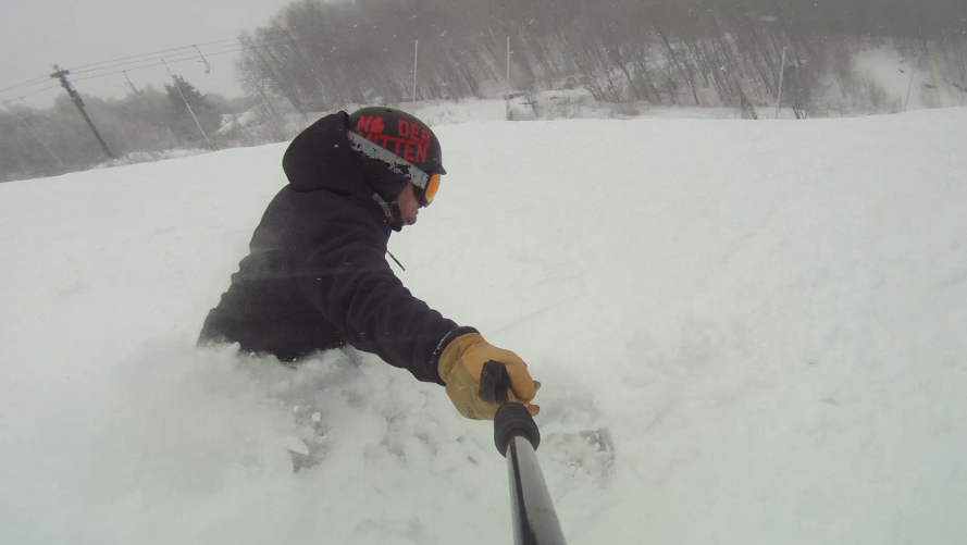 Still finding pow on the last run of the day at Beech Mountain, February 15, 2014