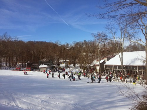 The base area and deck at Sugar Mountain NC