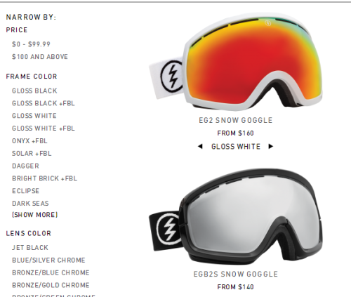 Electric's redesigned logo  graces all of their 14/15 snow goggles