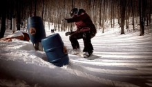Leo bonking some barrel at Crystal Mountain, MI