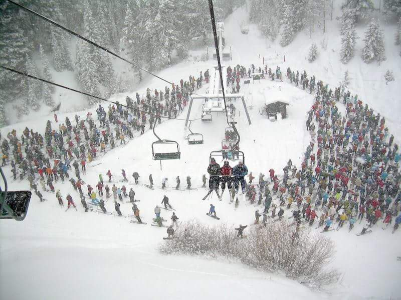 Holiday chairlift line at Vail Resort