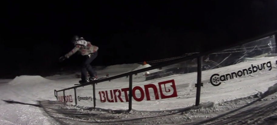 Nat Napolillo on the Burton rail at Cannonsburg