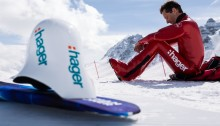 Edmond Plawczyk preparing to set the snowboard speed record at Vars 2015_4