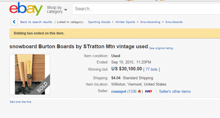 1c7d22596bc This Vintage Burton Snowboard Just Sold for  30