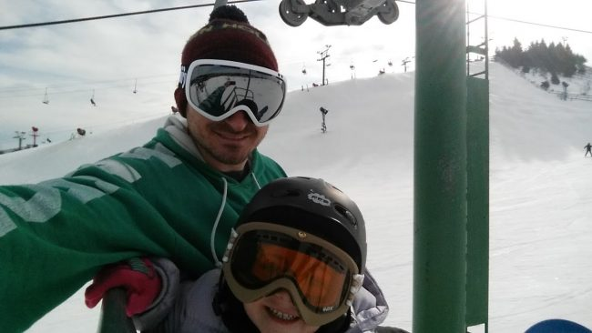 Taking the gromette on the chairlift