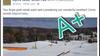 Alpine Valley promotes their terrain parks